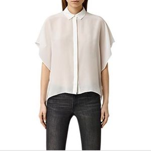 ALLSAINTS Off White Thea Shirt Viscose/Silk Blend